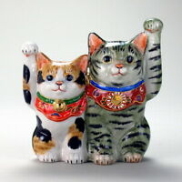Japan Kutani Ware Japanese Good Friends Lucky Cat Porcelain Ornament Size 5 17cm