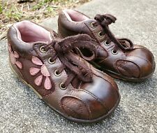 Girls STRIDE RITE Brown Leather KAYLIE Shoes with Pink Flowers Size 7 Wide