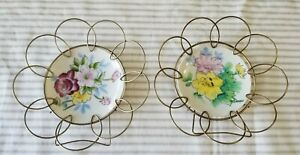 Two Hand Painted Vintage Plates In Gold Metal Wire Round Hangers Wall Decor