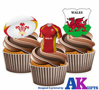 PRECUT Wales Rugby Shirt Ball & Flag 12 Edible Cupcake Cake Decorations Birthday