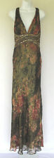 JOVANI BEYOND COUTURE SILK DRESS SIZE 10 BEADED SEQUINS SHAWL OPEN BACK SHEEN