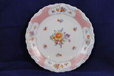Schumann Bavaria Germany US Zone Floral Chop / Serving Platter Pink Lattice