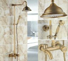 Antique Brass Wall Mounted Bathroom Rainfall Shower Faucet Set Mixer Tap Prs221