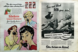 Silvikrin Shampoo The Chic Casual Look / Astral Skin Cream Vintage Advert 1957