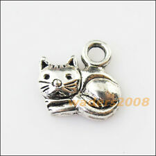 12 New Tiny Animal Cat Tibetan Silver Tone Charms Pendants 14mm
