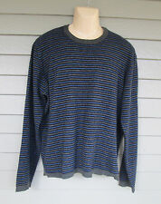 Abercrombie Mens Lovely Blue & Gray Striped Wool Blend Crewneck Sweater XL to L