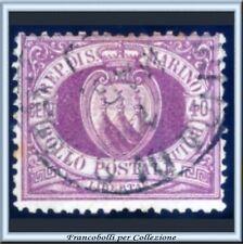 1877 S. Marino Stemma cent. 40 lilla scuro n. 7 Usato