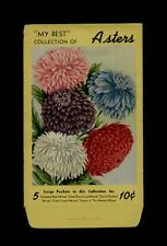 1920's ASTERS FLOWER LITHO. SEED PACKET ~MY BEST COLLECTION OF~ 10 CENTS
