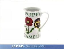 Flower Garden Ceramic 14cm Jug Poppy Iris Daffodil Camellia British Flowers