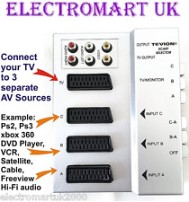 Tevion 3 vías Rgb Scart Selector Caja compatible RCA Fono