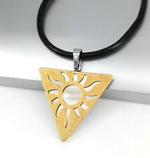 Silver Gold Egyptian Egypt Pyramid Triangle Sun Pendant Black Leather Necklace