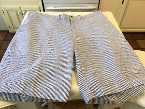 Two Weekender Casual Life: Size 40 Seersucker Golf Shorts Blue & Brown