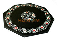 18'' Marble Coffee Table Top Carnelian Mother of Pearl Floral Inlay Decors B470