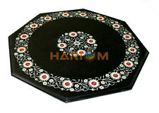 18'' Marble Coffee Table Top Mother of Pearl Floral Inlay Art Kitchen Decor B470