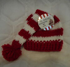 SO DORABLE HAND CROCHETED RED & WHITE STRIPE BABY HAT SIZE 6-12 MONTHS NEW
