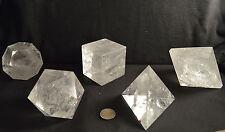 Set geant des 5 Solides de Platon en Quartz Cristal de Roche forme solide 3,2 kg