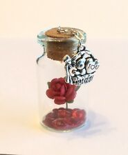 I LOVE YOU . LITTLE KEEPSAKES.  A GORGEOUS MINIATURE GLASS BOTTLE. 4cm.