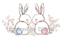 Transparent wall furniture sticker, decal, bunny rabbits, DIY nursery, kids 240