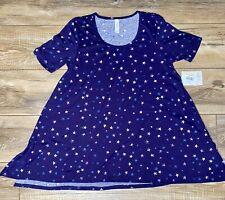LuLaRoe Perfect T Shirt Tunic Top Size Small Purple with Stars NWT