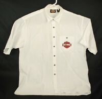 Harley Davidson Men's Graphic Spell Out Short Sleeve Button Up Shirt Size XL