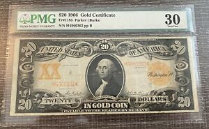 AVC- 1906 $20 GOLD CERTIFICATE FR.1185 PMG VF30