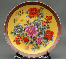 """8"""" Chinese Porcelain Plate painted peony flower butterfly lucky auspicious Plate"""