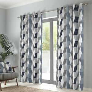 """Fusion """"Magna"""" Geometric 100% Cotton Fully Lined Eyelet Curtains Navy"""