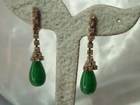 Amazing Green Givre Malachite Glass Rhinestone Vintage 70's Clip Earrings 586M1