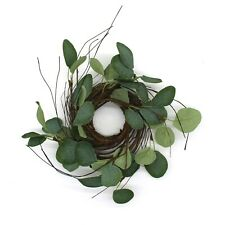 12-Inch Country Artificial Eucalyptus Leaves and Twig Wreath Round Green Wreath