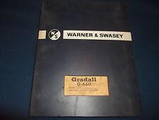 Warner Amp Swasey Gradall G 660 Parts Manual Book