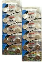 20 Maxell Batteries LR44 (A76, AG13) Alkaline Button Size Battery, On Tear Strip