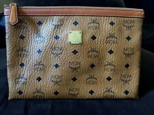 MCM *HERITAGE* MEDIUM ZIP TOP POUCH TAN *EUC*