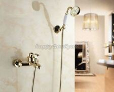 Gold Color Brass Bathroom Tub Faucet Mixer Tap Handheld Shower Head Set ytf402