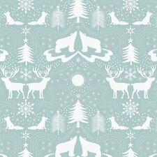 By 1/2 Yard Lewis & Irene Christmas Fabric ~ Northern Lights Arctic Animals Blue
