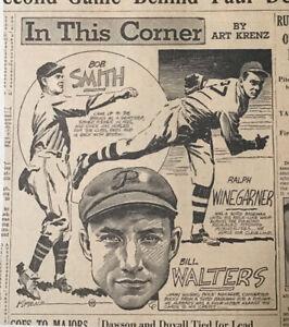 1935 newspaper panel by Art Krenz- B. Smith, R. Winegarner, Walters, baseball
