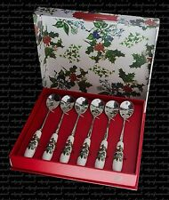 PORTMEIRION THE HOLLY AND THE IVY BOX OF SIX 6  TEA SPOONS