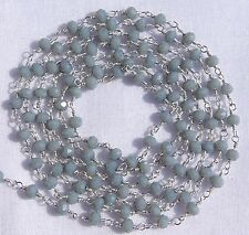 5 Feet Grey Moonstone Chalcedony Silver Plated Faceted Beads Rosary Chain Sale.