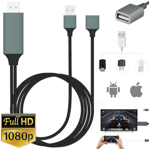 USB HDMI Cable 1080P Phone to Digital TV HDTV AV Adapter For iPhone iPad Android