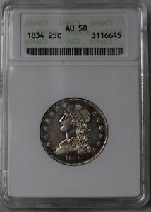 """1834 Capped Bust Quarter """"ANACS AU50"""" *Free S/H After 1st Item*"""