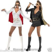CL365 Ladies White Or Black 50s Elvis Presley Viva Las Vegas Fancy Dress Costume