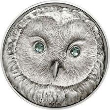 *GENUINE* Mongolia 500 Togrog 2011 Silver Antique finish Ural Owl - Swarovski