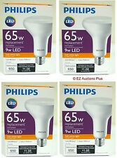 Lot of 4 PHILIPS 9W LED BR30 Flood (65W Replacement) Soft White Dimmable Bulb