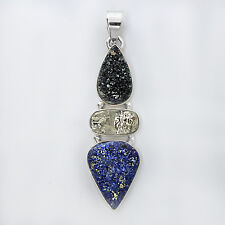 Druzy Onyx Pyrite and Lapis Lazuli gem stones Pendant set with solid Silver