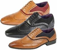 Mens Brogues Shoes Office Wedding Formal Smart Dress Lace Up Shoes