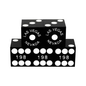 19mm Serialized BLACK Casino Dice Craps Yahtzee Las Vegas stick Set of 5