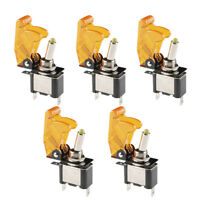 5 X 12V 20A 20Amp Yellow Cover LED Light Toggle Switch SPST ON/OFF Car Auto