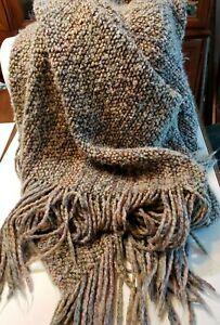 "Kennebunk Weavers Earth Tones 42x60 plus 9""Fringe Edge Woven Knit Throw Blanket"
