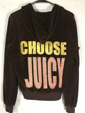 JUICY COUTURE Hoodie Womans Size M Brown Velour  Choose Juicy Top Hat