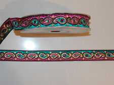 teal pink crystal jacquard embroidered ribbon applique trimming decor Indian