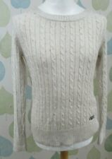 Womens Superdry cream Cable Knit Jumper Sweater L Large UK 14